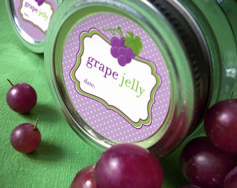 Grape Jelly canning jar labels, 2 inch round mason jar labels for fruit preservation, regular or wide mouth jelly jar labels