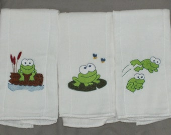 baby frog baby burp cloth set  baby boy burp cloth baby girl burp cloth