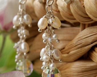 Wedding - Pearl, Swarovski Crystal Rose Earrings in Sterling