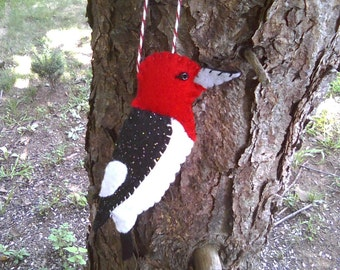 Red Headed Woodpecker Felt Ornament