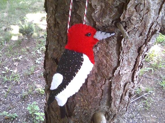 Red Headed Woodpecker Felt Ornament