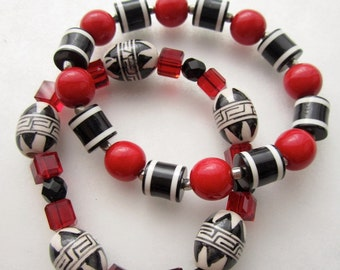 Two Tribal Bracelet Beaded with Ceramic and  Red Crystals