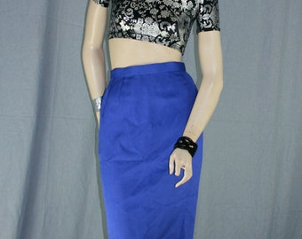 bluish purple silk high waist pencil skirt
