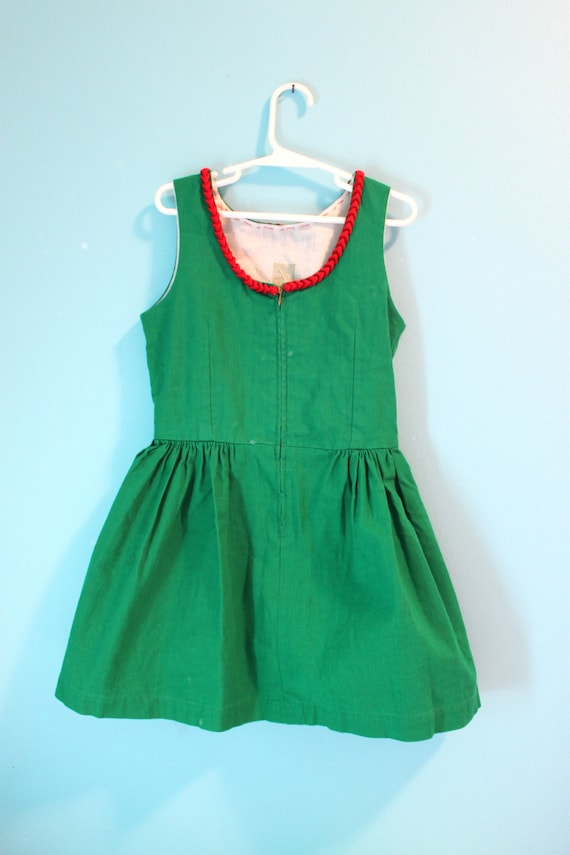 Vintage Girls Dirndl Dress German  Green Red Oktoberfest Christmas Traditional 5 6 Child