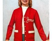 Vintage Knitting Pattern 1950s Varsity Letterman Sweater Digital Download PDF