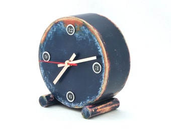 FREE SHIPPING - Desk Clock, Clock Circle Drum, Navy blue clock, No ticking clock, Silent clock, Table blue clock, Rustic clock, Distressed
