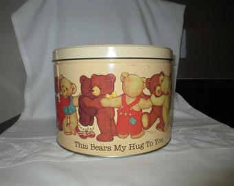 Teddy Bear Tin Bucket Marjorie Sarnat/ Popcorn Factory/ Confectionery Tin/Teddy Bear Metal Tin/Metal Container/by Gatormom13