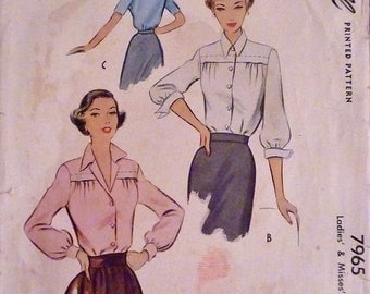 50s Blouse Pattern McCall 7965 Fitted Waist Forward Shoulder Seam Blouse w Sleeve Variations Bust 34