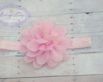 Baby headband, infant headband, newborn headband, light pink flower headband, photo prop, light pink chiffon flower on elastic headband