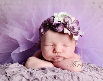 Purplelicious flower headband, shabby chiffon headband-swarovski,lace,satin, newborn,flower girl,photo prop, any size,purple flower headband