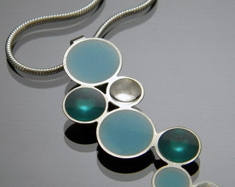 Bubbles Necklace in Sterling Silver with Teal and Baby Blue Resin