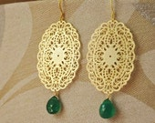 Gold Vermeil Lace Filigree Earrings with Emerald Green Onyx Gemstones- Great Holiday Jewelry, Christmas Color, Dainty Feminine