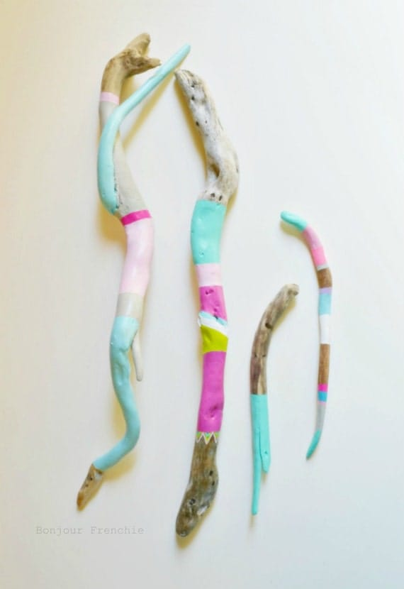 Painted Sticks, Driftwood Art - 4 Piece Collection, Soothing Neon ...