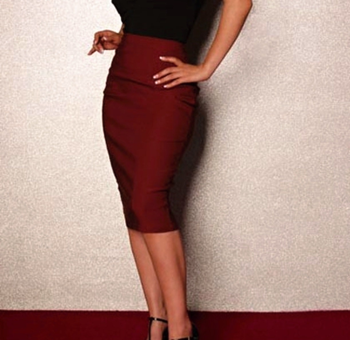 classic pencil skirt in burgundy choose your size or your