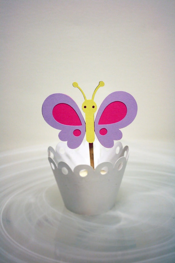 Etsy Cake Decor : Items similar to Beautiful Butterfly Cupcake Toppers / Cake Topper on Etsy
