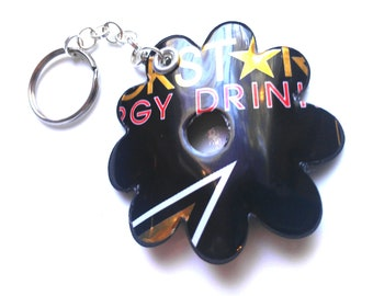 RockStar Keychain Recycled Soda Can Upcycled Aluminum Can Purse Cellphone Clip Key Ring Gift - KC10