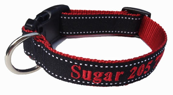 Personalized - Dog Collar- Black with embroidered name and phone
