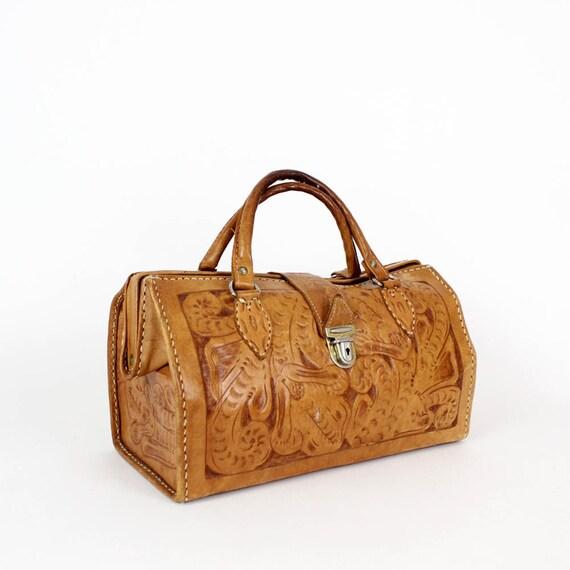 tooled leather doctor bag / structured handbag