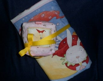 "Baby Blanket & Block Set ""Land of Milk and Honey"" Rue Rabbit Cloth Rattle Block Blanket pink checks blue yellow"