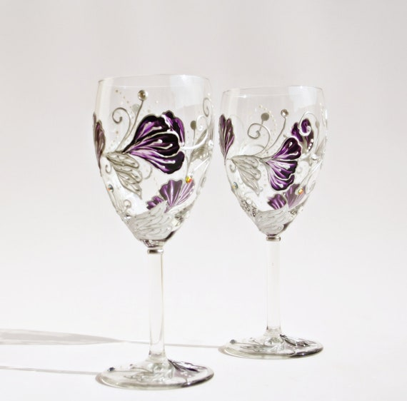Wine Glasses Hand Painted Purple Silver Flowers Swarovski Crystals Set of 2