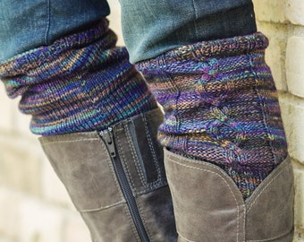 """KNITTING PATTERN, PDF file for cabled boot cuffs, boot toppers, legwarmers """"County Clare"""""""