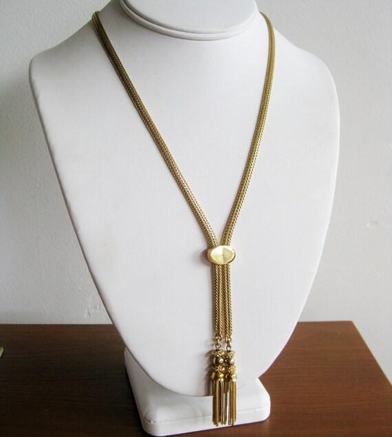 Vintage 70s Gold Necklace Monet Slide Lariat Rope Chain Tassel