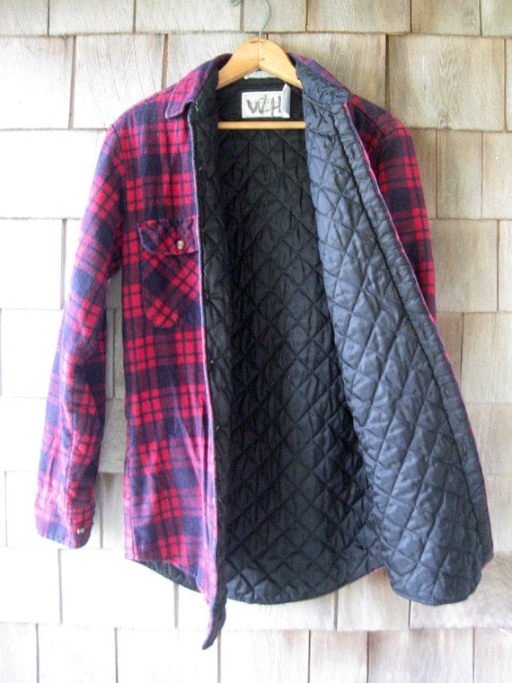 Plaid Flannel Shirt/Jacket Quilted and Lined 90s Grunge