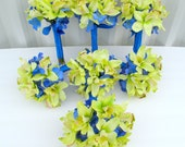 Wedding bouquets green orchids royal blue 13 piece set - silk bridal flowers custom made package