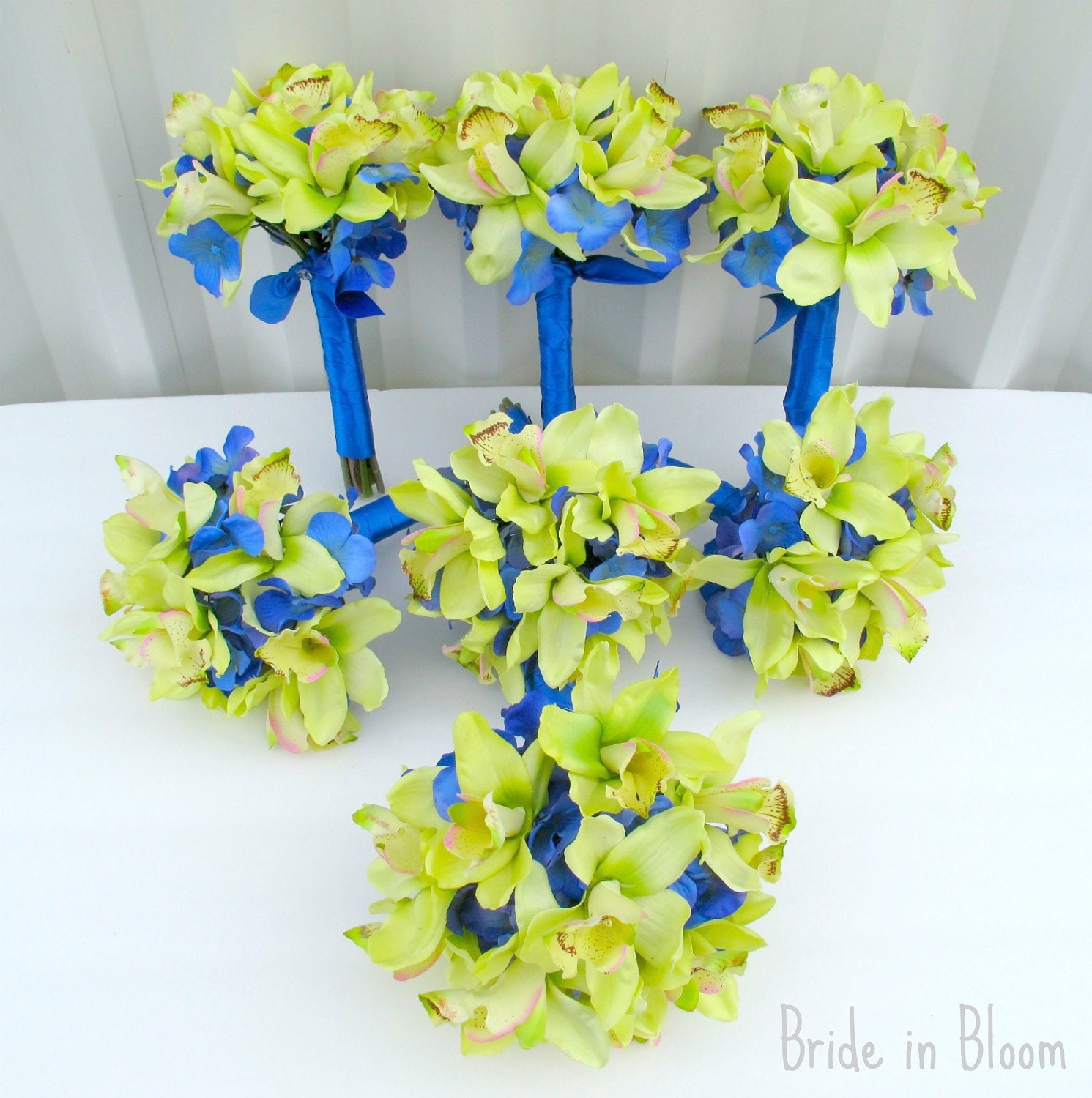 wedding bouquets green orchids royal blue by brideinbloomweddings. Black Bedroom Furniture Sets. Home Design Ideas