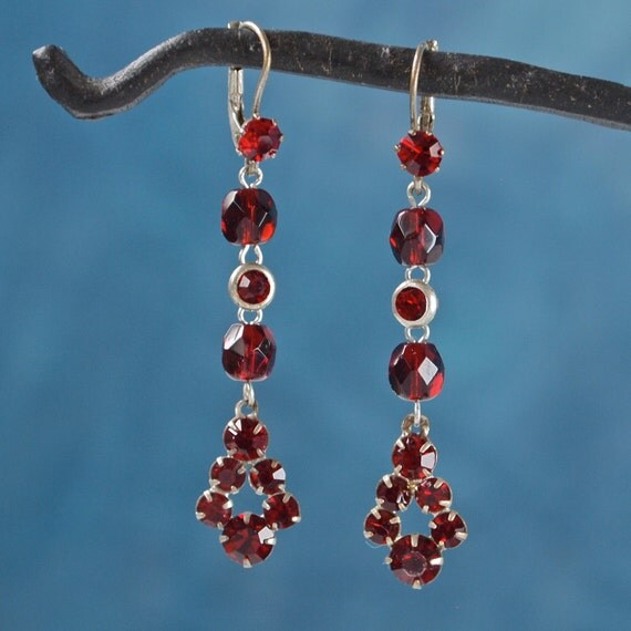 Vintage Earrings Art Deco Czech Ruby Red Rhinestone Garnet and Silver Tone Diamond Shaped Drop Earrings