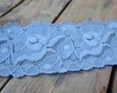 Pale BLUE elastic lace, Buy 8 yard get 8 for free, floral LACE, supplies, stretch lace, decorative, wedding craft, Christmas gift