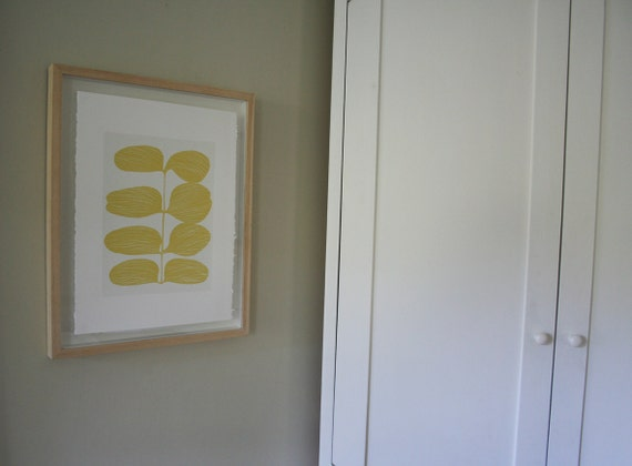 Reserved for Heather - Yellow Leaves, handmade leaf design original screenprint inspired by the fifities and lucienne day.