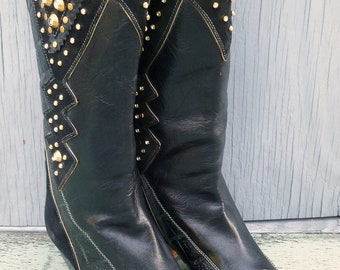 El Vaquero black leather and suede Swarovski crystal studded vintage boots