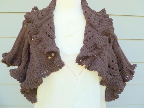 Sale Vintage chocolate brown knit butterfly sleeve bolero sweater