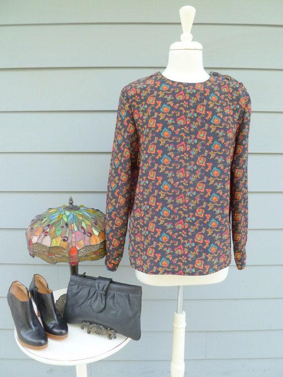 Vintage floral long sleeve secretary blouse