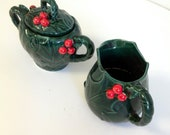 vintage Christmas ceramic  cream pitcher and sugar bowl set dark green and red holly pattern