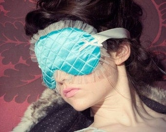 Quilted Sleep mask Eye mask Boudoir Mask Teal blue silk - Chantilly - Couture Collection - Love Me Sugar