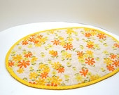 Vintage Floral Quilted Yellow Placemats - SET of 2