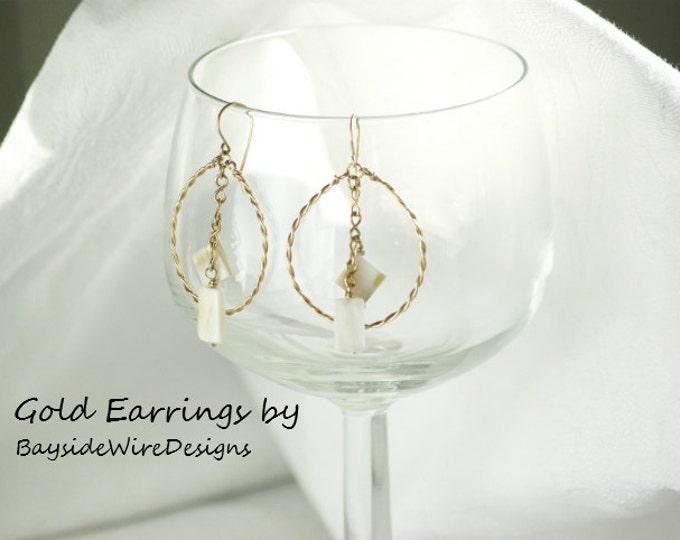 Geometric Gold Earrings Dangle Hoops Drop Earrings Mother of Pearl Bohemian Woman Handmade