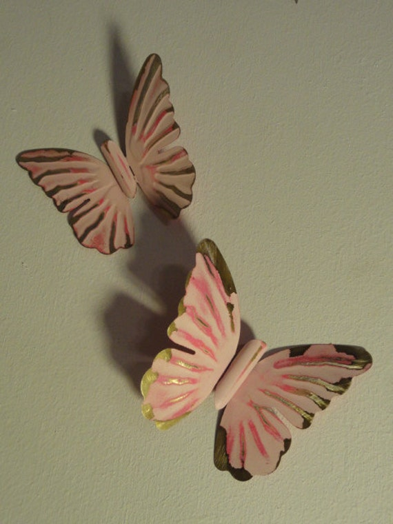 Girls room wall art, Pink Butterfly wall hanging, Metal  Butterfly, Shabby Cottage art