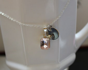 Personalized bridesmaid necklace-pink-czech glass set stone-sterling silver-initial necklace-wedding party jewelry