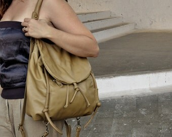 Handmade leather backpack, named Daphne in Tobacco color MADE TO ORDER
