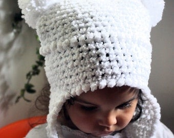 SUMMER SALE 12 to 24m White Hat Snow Baby Hat Earflap Pom Pom Hat - Girl Baby Hat Crochet White Hat Double Pom Pom Hat Photo Prop Christmas