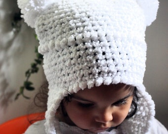 SALE 12 to 24m White Hat Snow Baby Hat Earflap Pom Pom Hat - Girl Baby Hat Crochet White Hat Double Pom Pom Hat Photo Prop Christmas