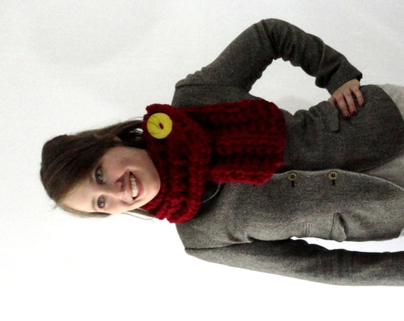 Cranberry Red Chunky Knit Cowl Scarf with Large Yellow Button