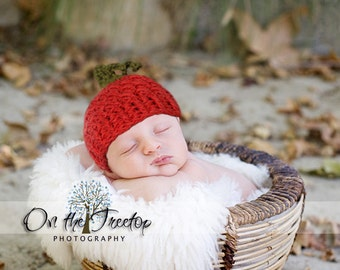 Newborn Hat, Baby Hat, Baby Pumpkin Hat, Orange, Forest Green. Photo Props, Fall Birth Cards. Fall collection. Autumn. Baby Fall Hat.