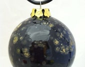 "Ceramic Round Christmas Ornament, 3"" Diameter, Black and Gold, Hand Painted Kiln Fired"