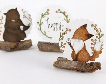 30 Stickers - Happy Bear, Fox & Cupcake