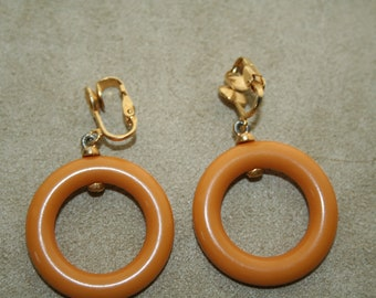 Earrings Clip On Bakelite Butterscotch Hoops