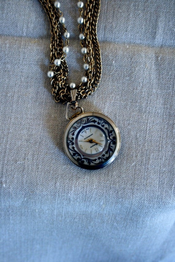 Vintage Bercona Watch Necklace // 50s Gold Tone